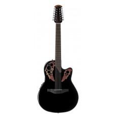 Ovation CE4412-5 Celebrity Elite Mid Cutaway Black Гитара 12-струнная электроакустическая